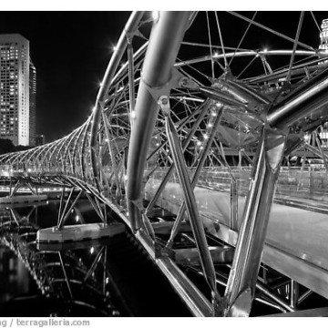 Double Helix Bridge in Marina Bay at night. Singapore