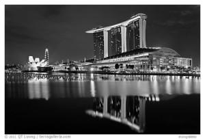 Marina Bay Sands resort and bay reflection at night. Singapore